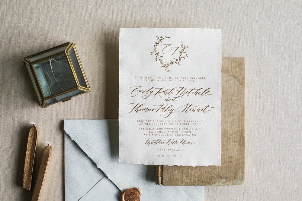 Main invitation in handmade paper