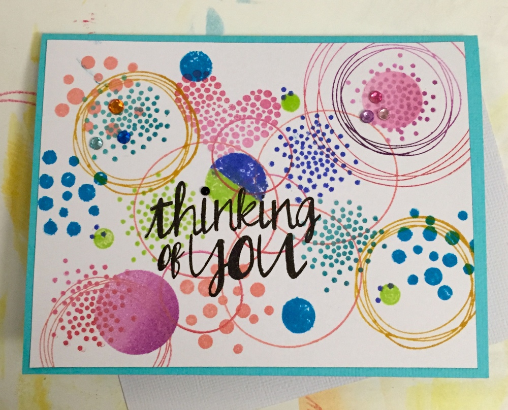 Essentials by Ellen (Ellen Hutson LLC) Bokeh Dots stamp set, Distress inks, Studio Calico sentiment