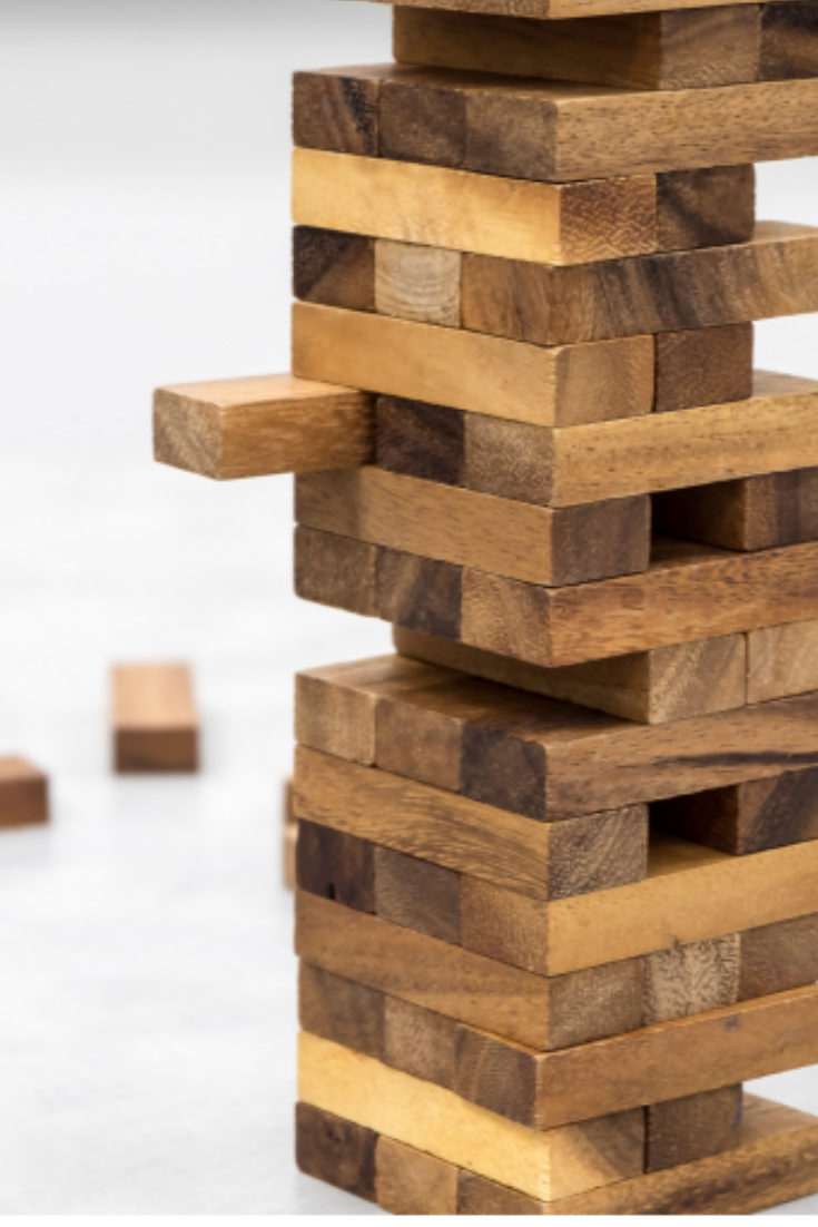 We use the Jenga Tower to represent a student's knowledge. If the foundation is solid, the tower will stand tall and strong. If the bottom is shaky and there are a lot ofholes, the tower will wobble.