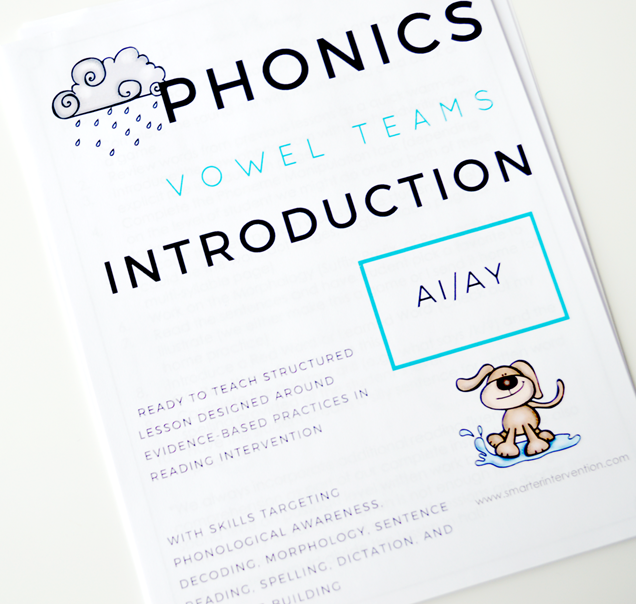 AI & AY Phonogram Center Based Learning Printable Worksheets and Activities