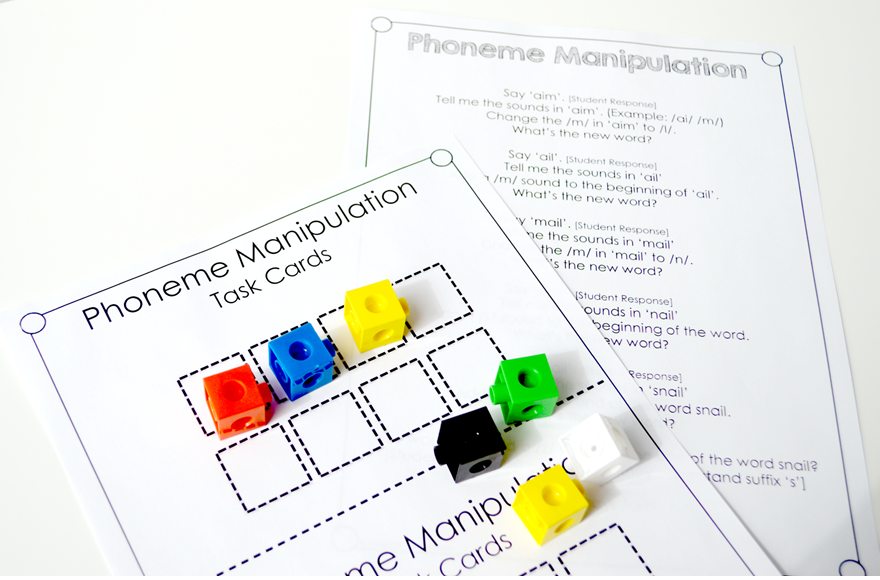 ai & ay phoneme manipulation task cards and script