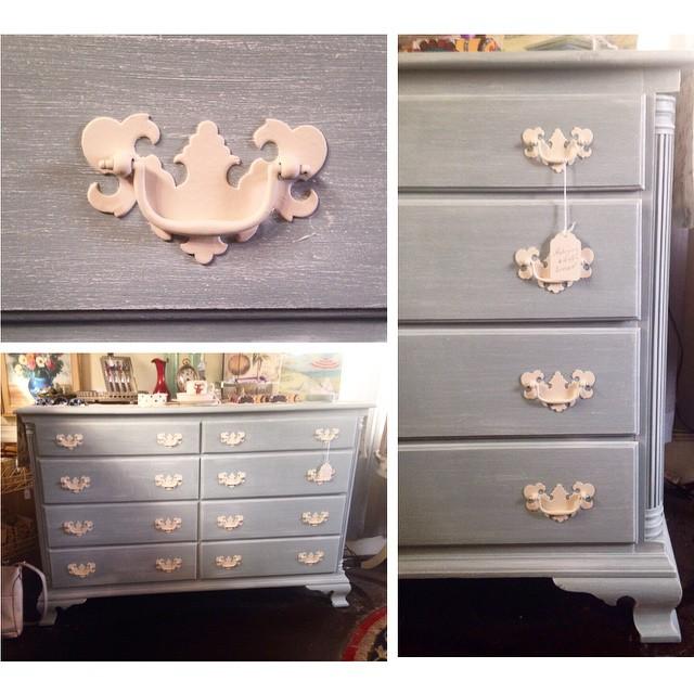 Mohagany Dresser In Blue, $249 #NotTooShabby #CulverCity #ShabbyChic  #Vintage #Dresser