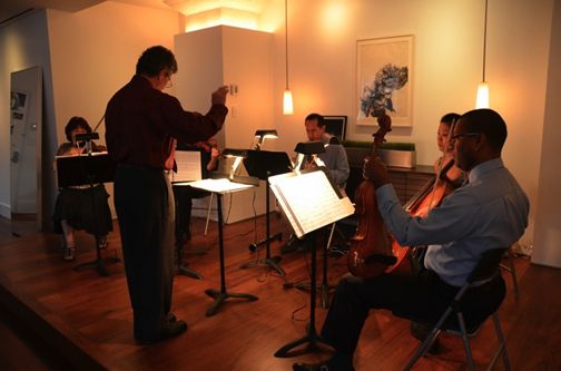 A KCO quintet entertains at a soirée in Tribeca.
