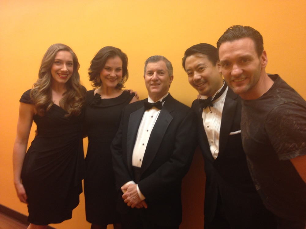 Quartet of soloists with Gary. Left to right, Tamra Paselk, Elise Quagliata, Gary Fagin, Kelvin Chan, and Glenn Seven Allen