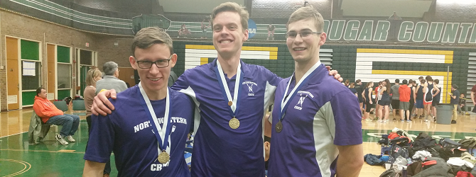 (Left to right) Winners Ryan Evenson, Sebastian Masiakowski, Coach Travis Hillier.