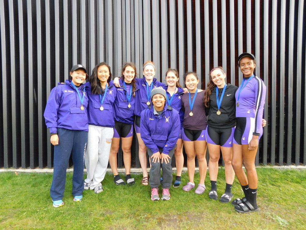 Northwestern Women's 8+:  Cox: Michaela Davis, 8: Katie Perry, 7: Betty Bu, 6: Jenn Kroon, 5: Liana Tellez, 4: Michelle Zhang, 3: Maria Peurach, 2: Allyson Aller, 1: Kelli Nguyen