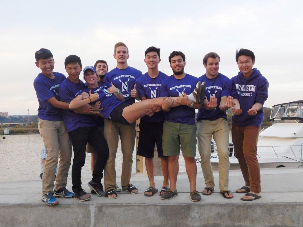Northwestern Men's Collegiate Novice 8+:  Cox: Ronni Hayden, 8: Min Kim, 7: Nimon Dong, 6: Charlie Weiss, 5: John Gustafson, 4: Turner Manley, 3: Jaime El Koury, 2: Daniel Zhu, 1: Jeremy Fu