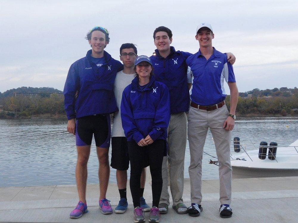 Northwestern Men's Collegiate 4+:  Cox: Ariela Berg, 4: Kyle Aldirch, 3: Ian Kuo, 2: Joe Sanchez, 1: Jared Colin