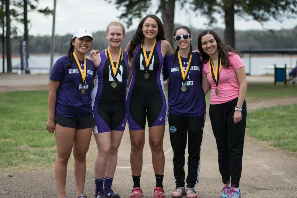 Northwestern Women's Collegiate Novice 4+ Cox: Abby Wolfe, 4: Kelli Nguyen, 3: Mary Stoa, 2: Martina Thurman, 1: Debbie Turetsky