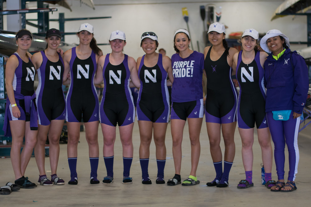 Northwestern Women's Varsity 8+  Cox: Michaela Davis, 8: Betty Bu, 7: Allyson Aller, 6: Maria Peurach, 5: Michelle Zhang, 4: Sofia Montoya, 3: Sarah Evan, 2: Katie Cavanaugh, 1: Isabella Mistry