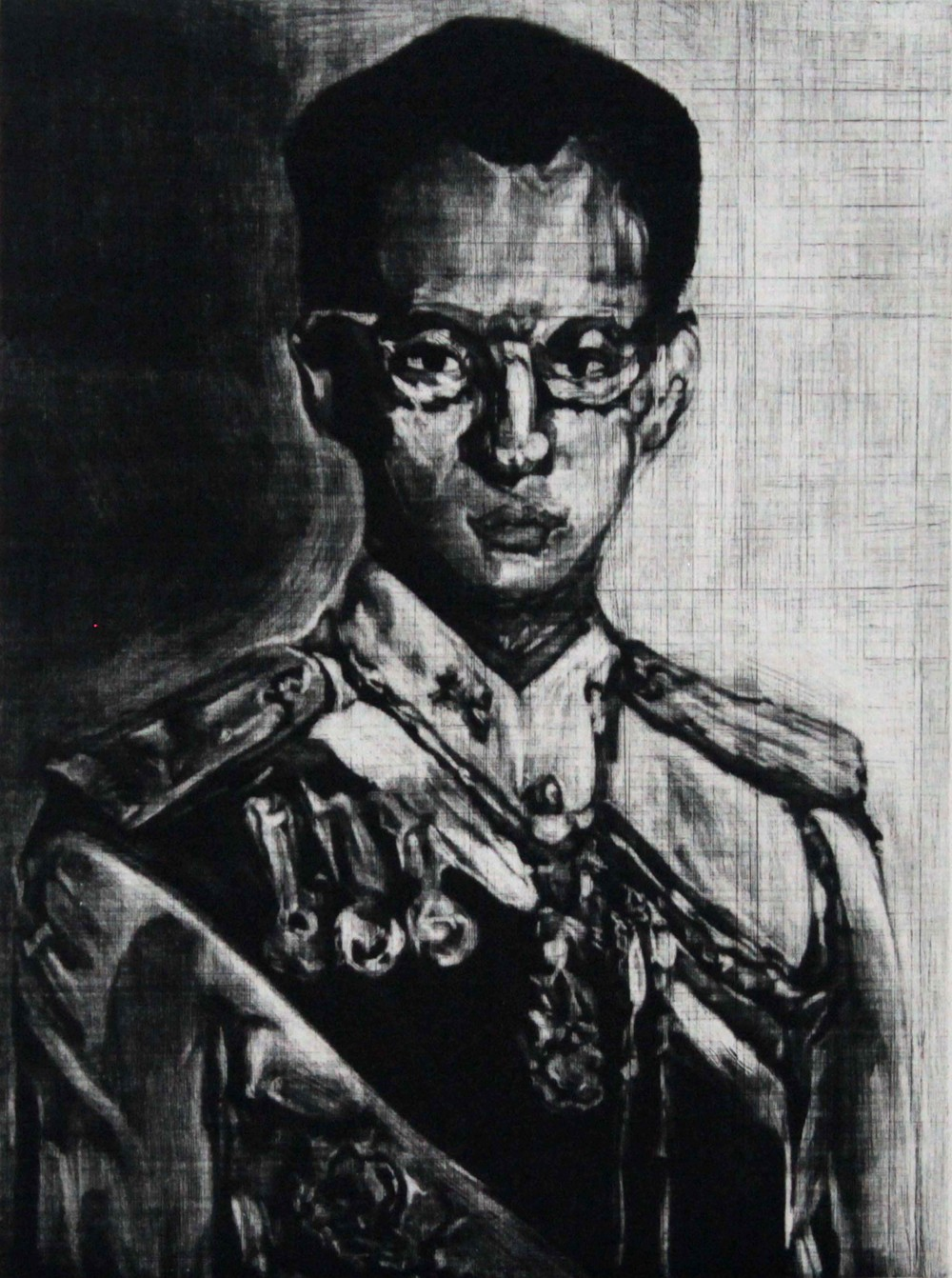 Kitikong Tilokwattanotai   King Bhumibul  ,2014,Etching,Image size: 20x15 cm