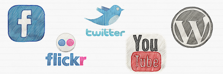 Facebook, flickr, twitter, youtube, wordpress icons