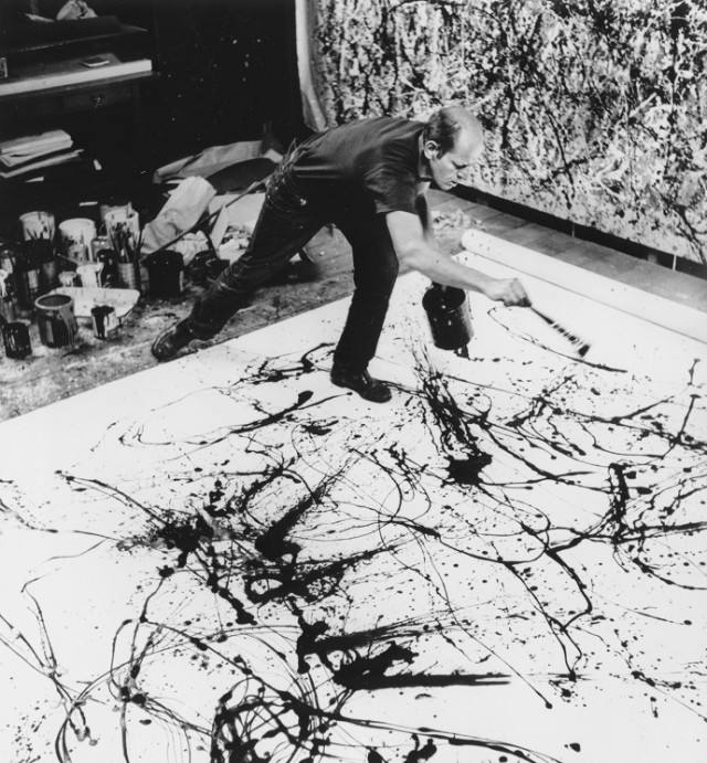 jackson pollock creating action painting