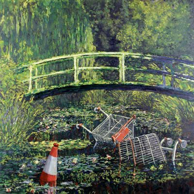 Banksy Cart Monet Japanese Bridge