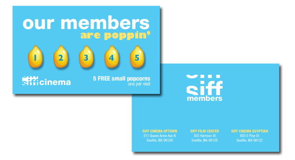SIFF Members - Free Popcorn Stamp Card. All new SIFF Members receive one of these, good for 5 free small popcorns at SIFF Cinema.