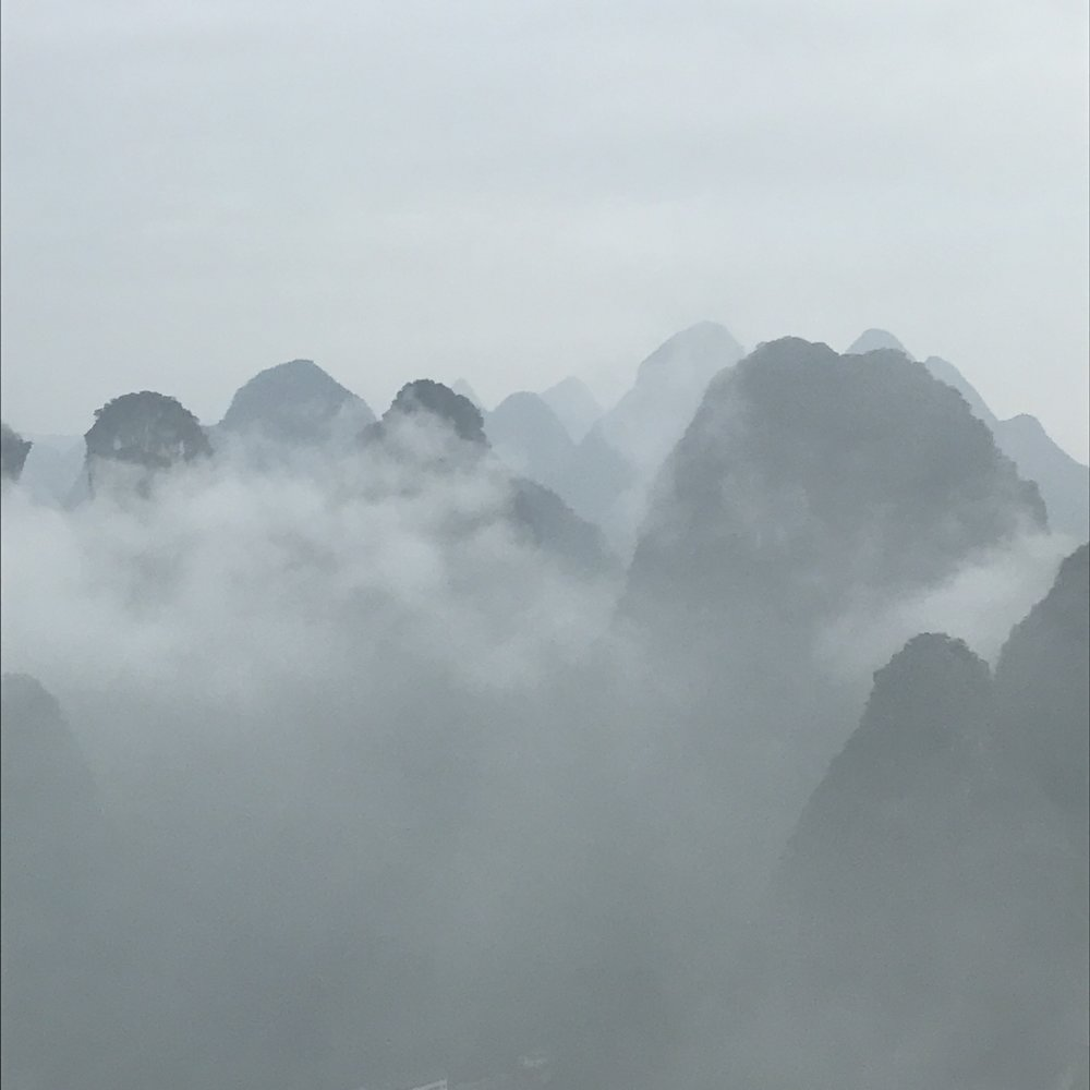 View of the mountains above the Li River, early morning