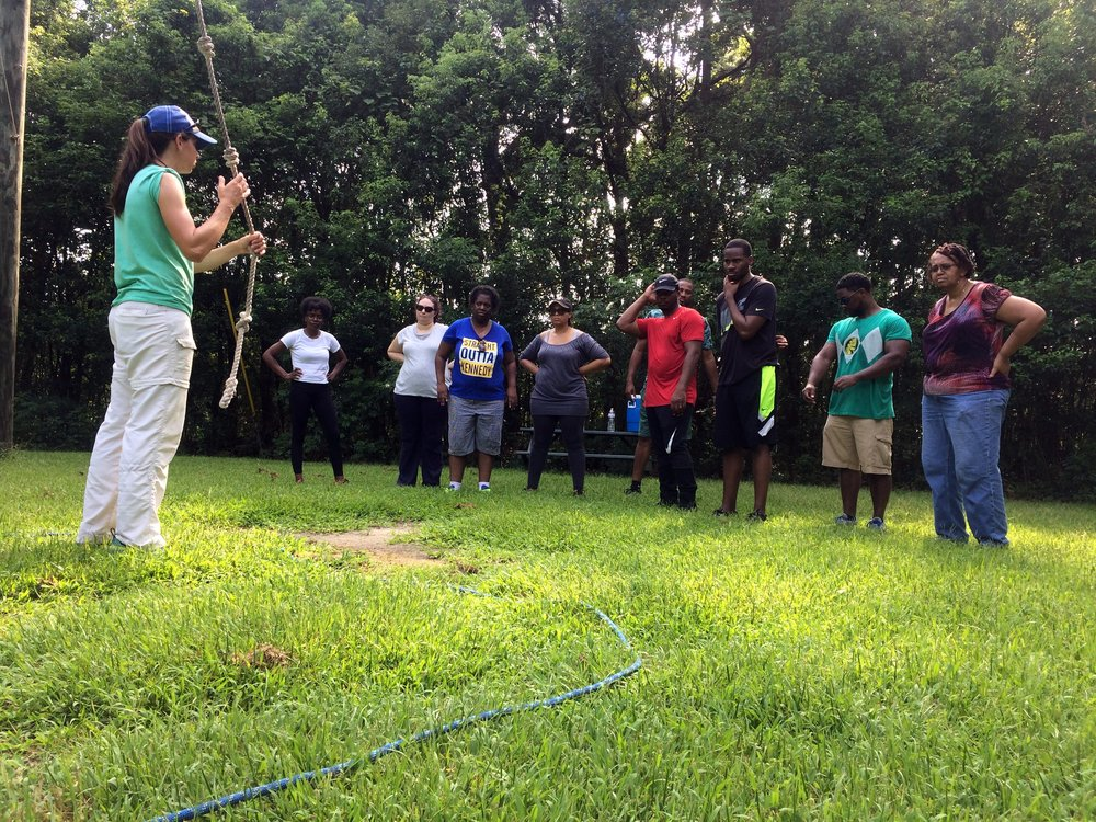 The Net Charter School Staff - Low Ropes City Park Challenge Course.JPG