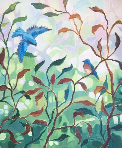"""Songs of An August Morning :  Acrylic on canvas, 20 x 24"""" by Hannah Seng"""