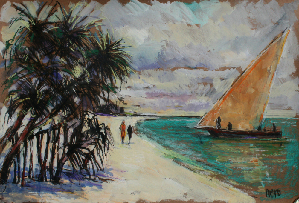 DN3 - Beach scene, Orange sail boat - 100 x 70cm.jpg