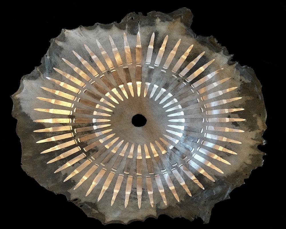 Cecilia Fattorini, Silver Bullets I, White Gold Leaf, 98 x 98 cm