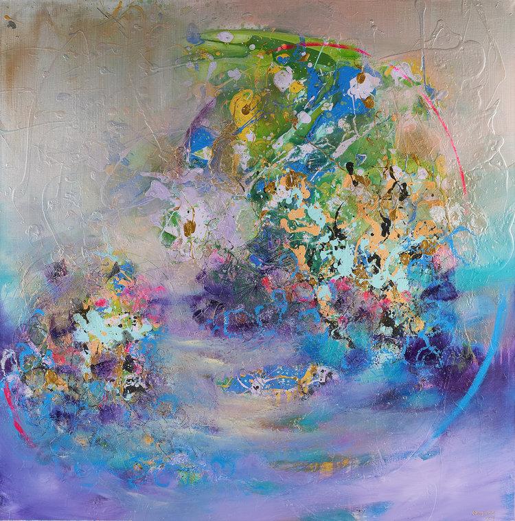 Areej Rajab | Untitled | Mixed Media on Canvas | 120x120cm | AED11,400