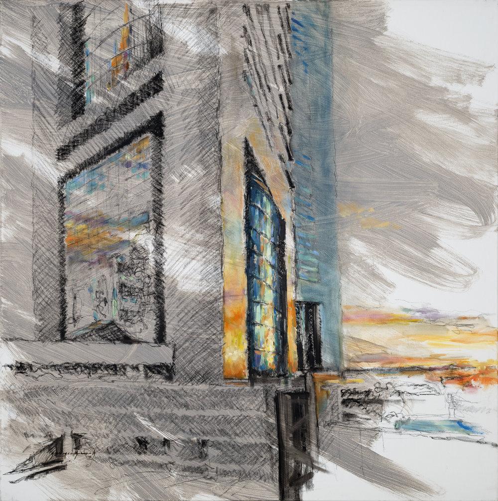 Mike Arnold | Sunrise | Oil, Pastel, Graphite on Canvas | 100x100cm | 2018