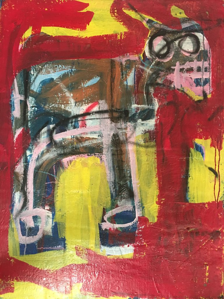 Ehoodi Kichapi , Red Donke with Yellow , 2017, Acrylic on Canvas , 76x99cm .jpeg