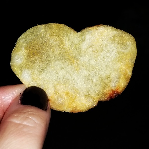 One of many heart shaped potato chips. This one is salt & vinegar from Jimmy Johns, - Cypress, TX 2014