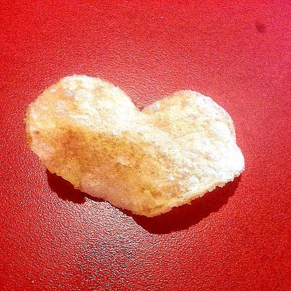 Heart shaped potato chip. Lunch. - Somewhere in Texas, 2014