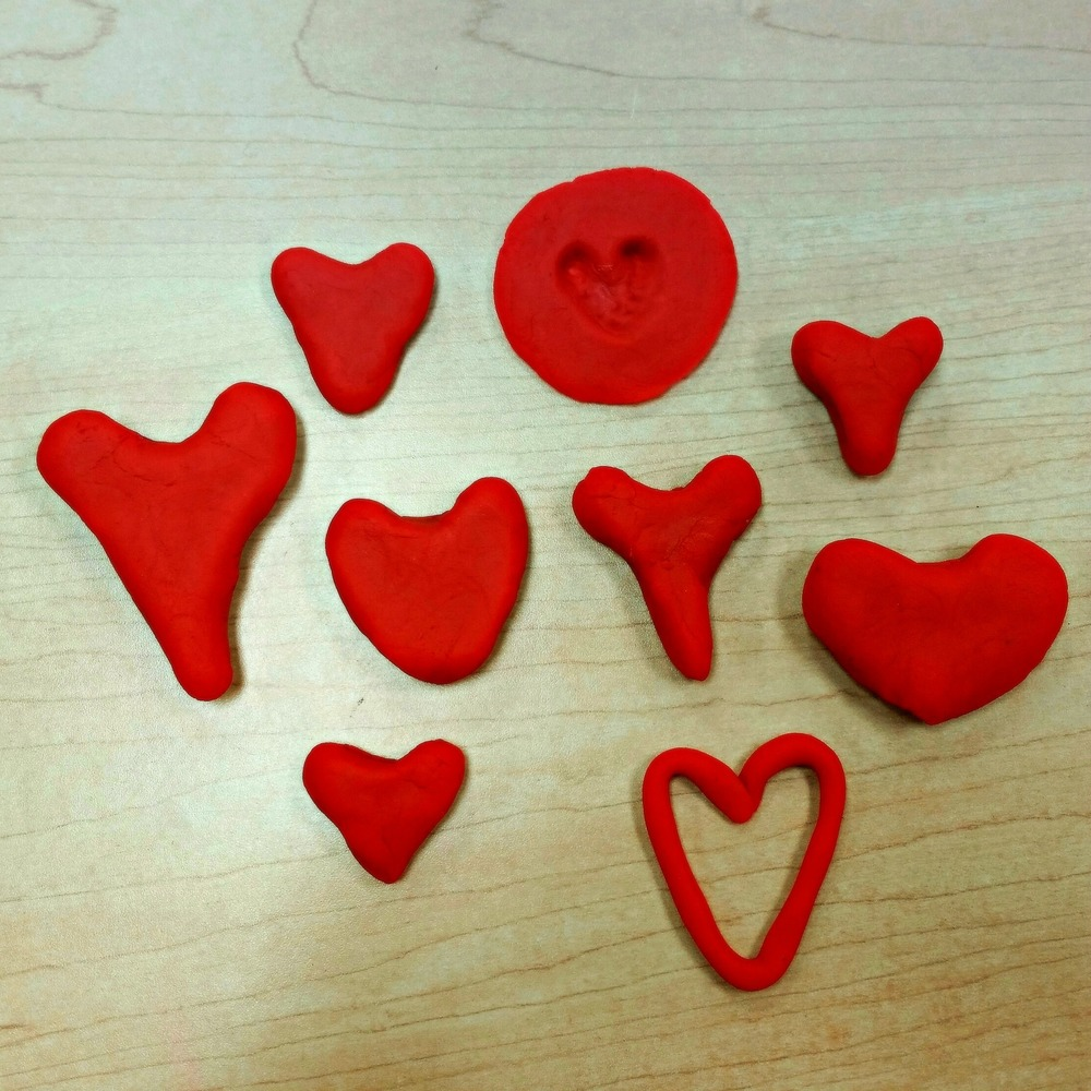 Red play dough hearts from Recovery Coach training. - Houston, TX February 2015