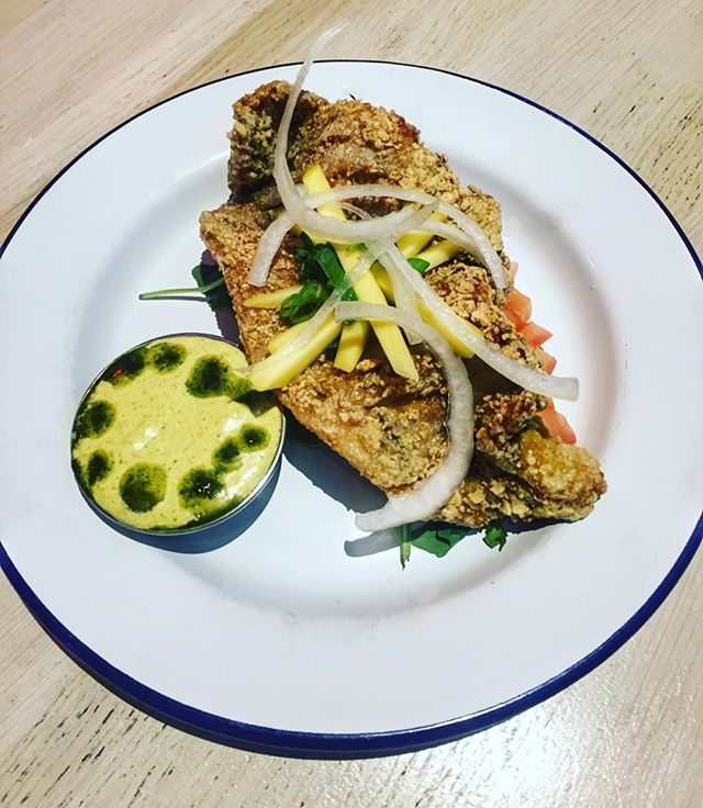 Curry dusted catfish, pickled mango and sour-orange aioli. New creation from the wicked mind of #chefpaul . . . #foodart #nycfood #caribbeaninspired #nyccaterer #table7nyc  #edibleart  #instafood #nyceats #foodporn #instafoodie #yumyum #spices