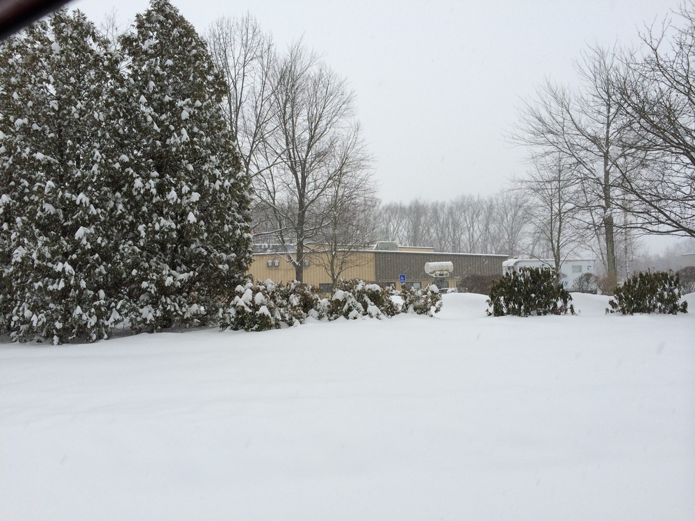 Worthington Assembly's building after a snow storm