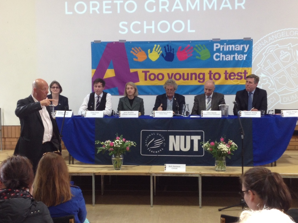 Bob chairing the Education Question time for Parliamentary candidates in Altrincham