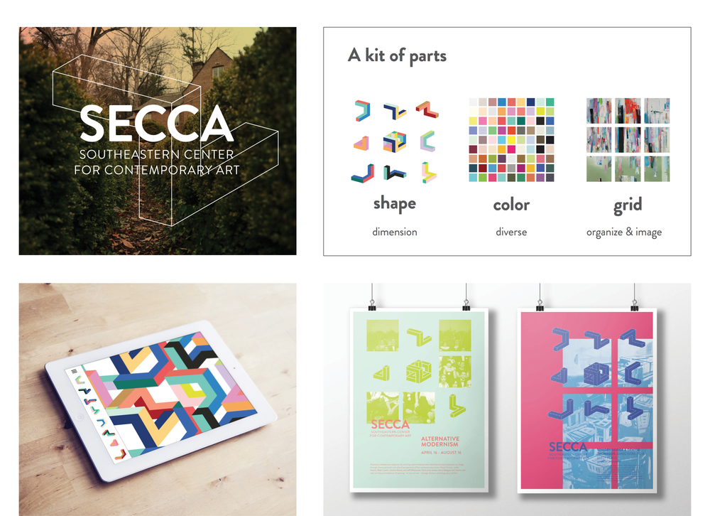 Students explored how structured design could communicate the abstract ideas that SECCA speaks to. This project employed a coded kit of parts to create a cohesive brand system. Students: M. Cox and M. Fraizer, Co-directed with Professor Denise Gonzales Crisp