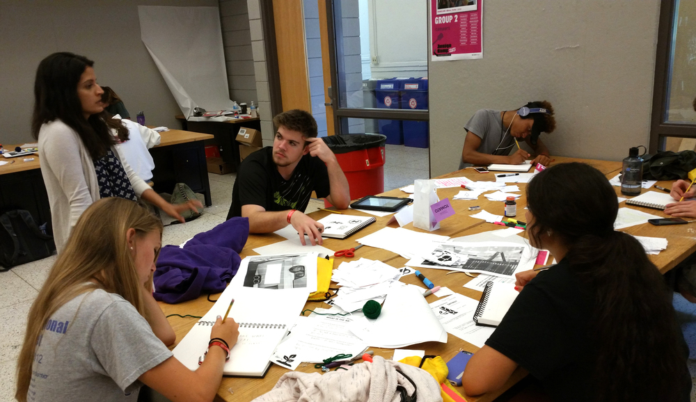 Students working ideating on language for messaging systems