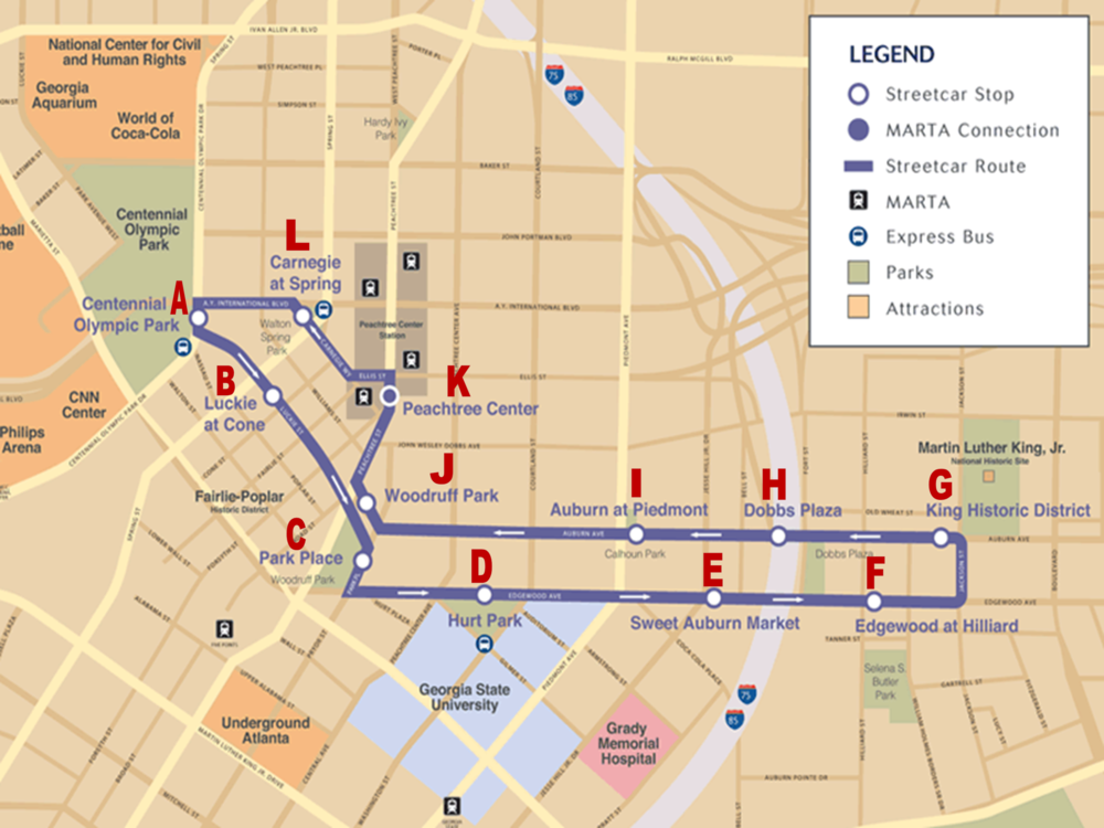 Atlanta Streetcar Route (click to enlarge)