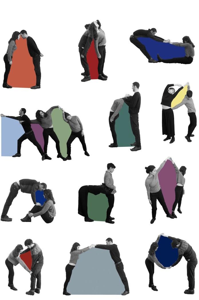 Nefeli Papadimouli & Diamètre - Le projet de Nefeli Papadimouli se présente comme une installation immersive et performative invitant les visiteurs à réinventer et à rejouer de multiples relations. L'oeuvre apporte des solutions en acte(s) pour un futur collectif. Un futur qui se construit par l'amour et la tendresse. (…) Le projet nous invite donc à habiter collectivement le présent. Dessinant un instant sans règles ni ordre préétablis, l'installation nous permet de nous libérer et de nous émanciper en créant un rapport à l'Autre. L'œuvre prend vie dans les étreintes possibles des corps, et ces étreintes, en tant qu'imagination en acte, permettent de dessiner les bases d'un futur collectif. Les corps se cherchent pour établir entre eux un nouvel équilibre : dans l'ici et maintenant se creuse le désir de construire et de recomposer la société future ensemble.Diamètre