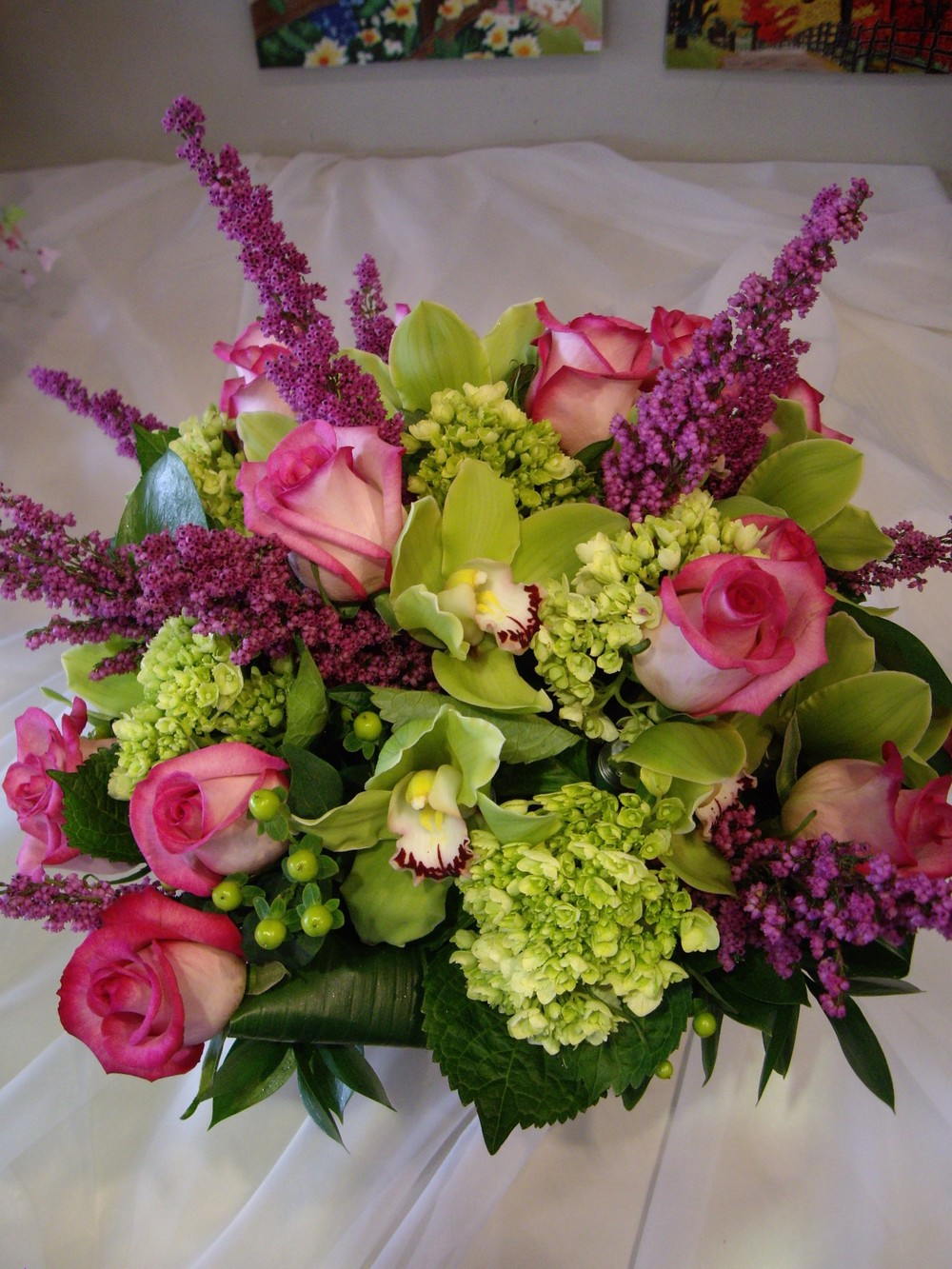 green hydrangea and purple cezanne roses.JPG