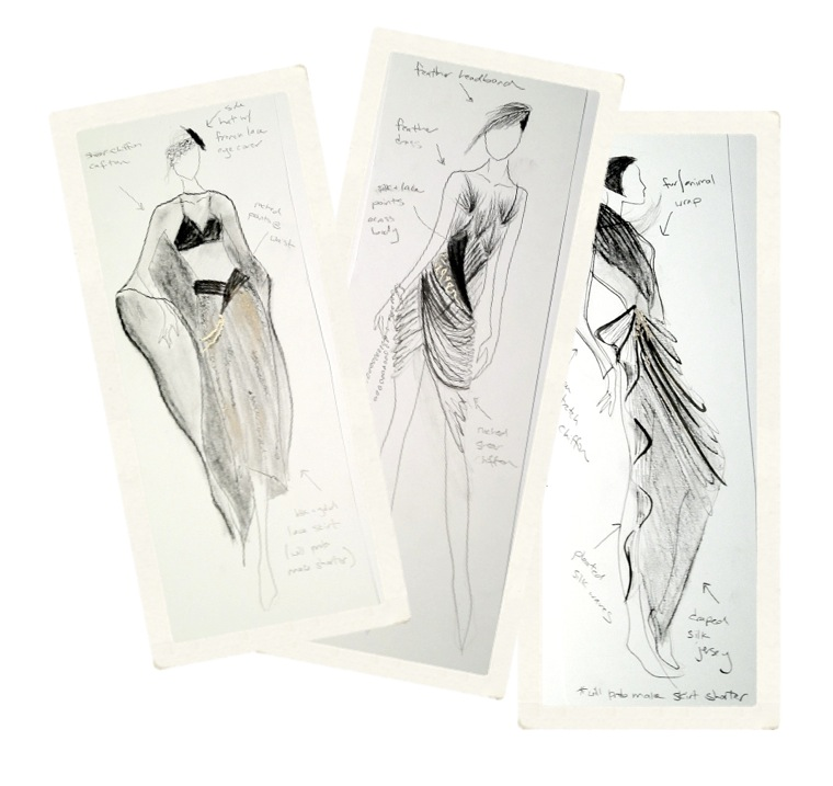 [fresh sketch ! ] // cocktail dress sketches for the extras! 20s-esque.