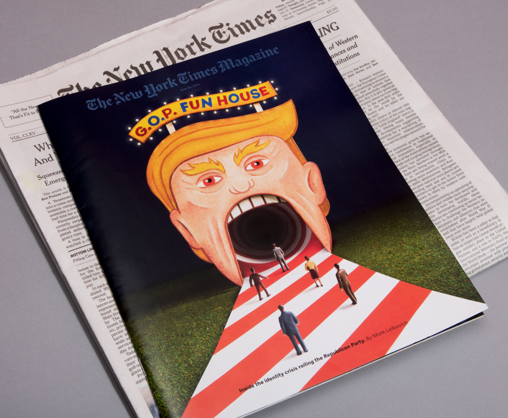 "Cover of the Sunday NYTimes Magazine feature ""Will Trump Swallow the G.O.P Whole?"" by Mark Leibovich."