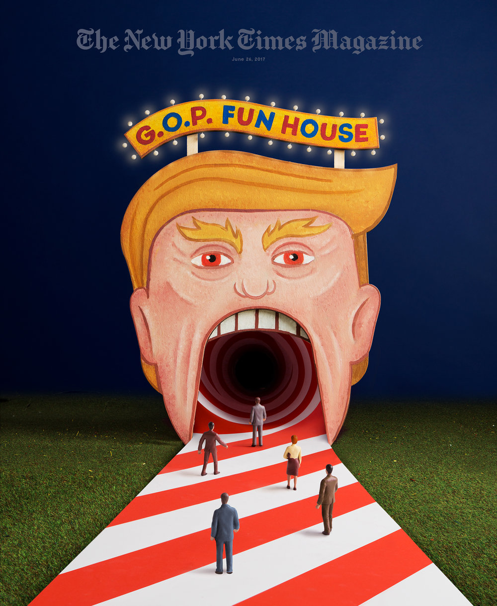 "Cover of the Sunday NYTimes Magazine feature ""Will Trump Swallow the G.O.P Whole?"" by Mark Leibovich. Made at  S&W ."