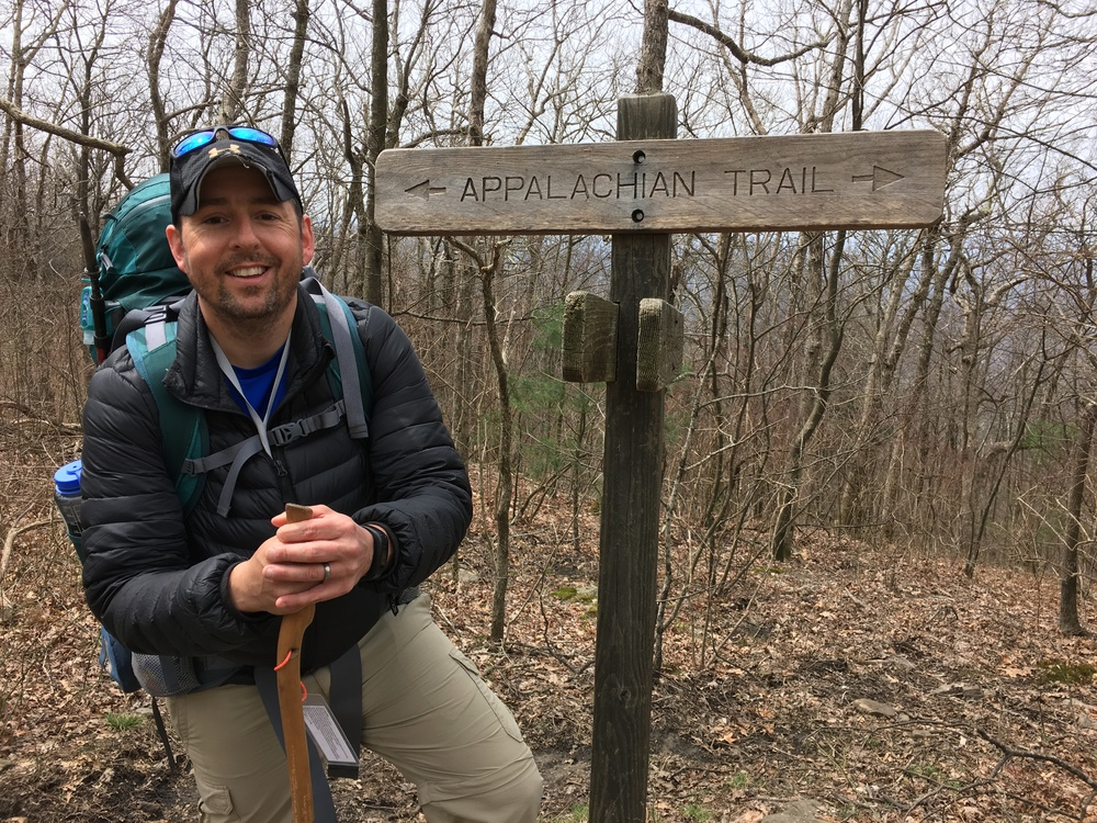 Moe at the start of his Appalachian Trail thru-hike in April near Springer Mountain, Georgia