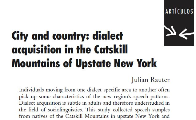 City And Country Dialect Acquisition In The Catskill Mountains Of