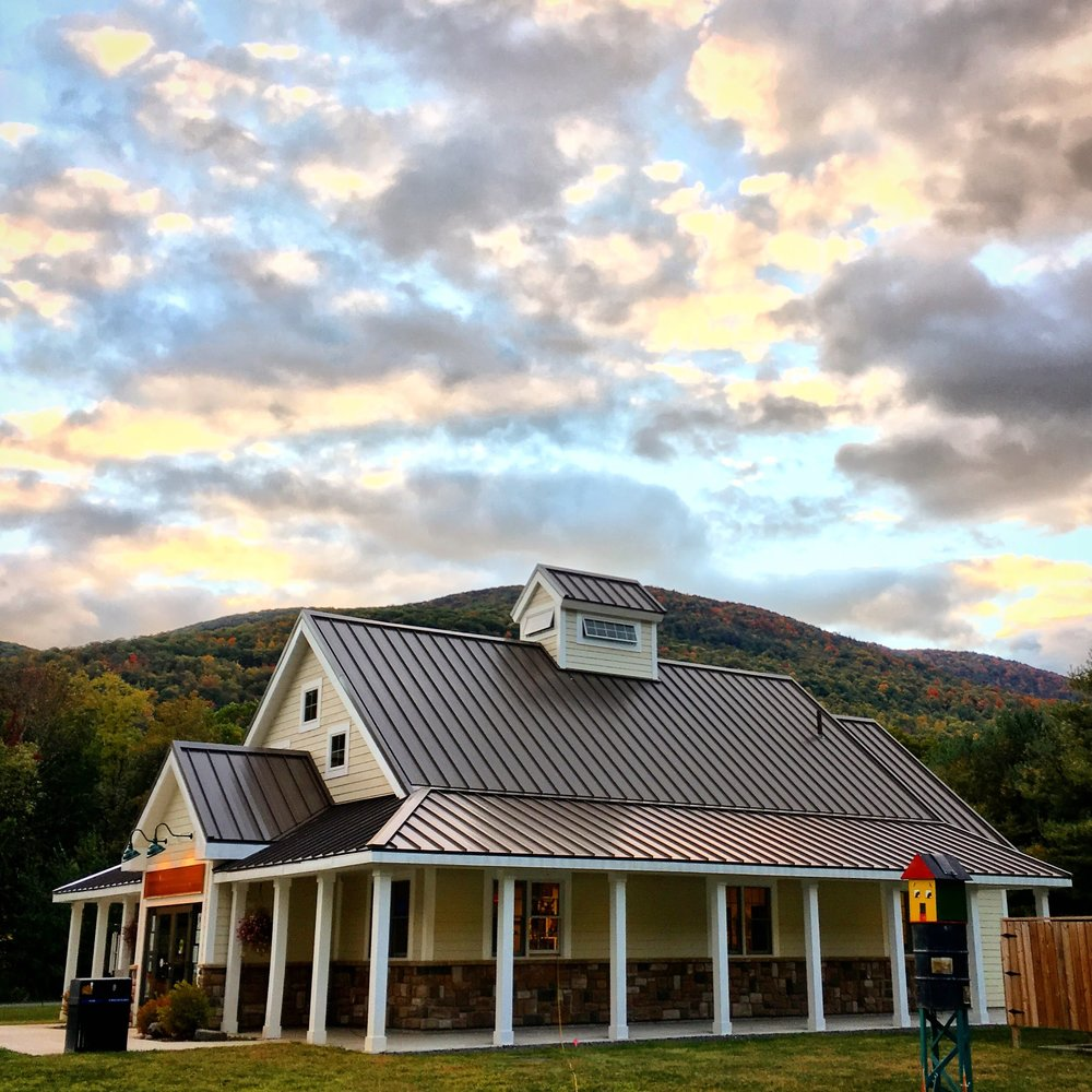 The Maurice D. Hinchey Catskill Interpretive Center, at dusk.