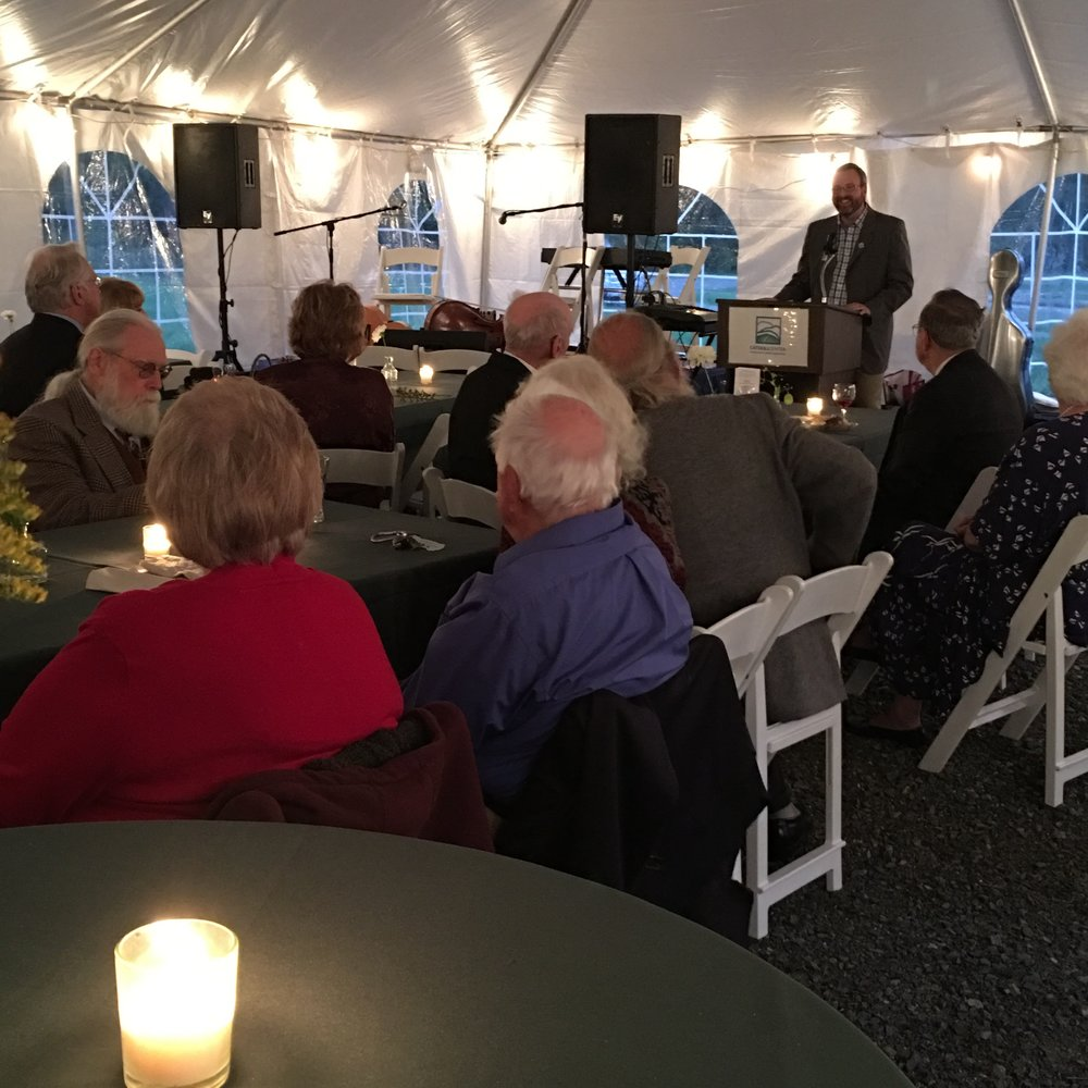 Guests enjoying welcoming remarks by Jeff Senterman, executive director, Catskill Center.