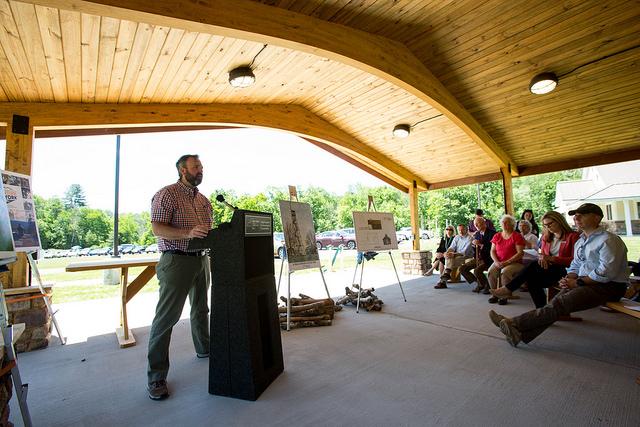 Executive Director Jeff Senterman speaks at the pavilion's ribbon cutting