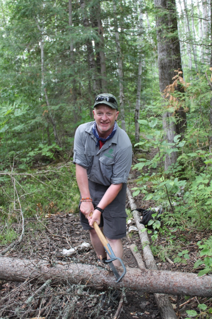 Friends of Temagami President PJ Justason doing some route maintenance in the standard issue FOT garb.