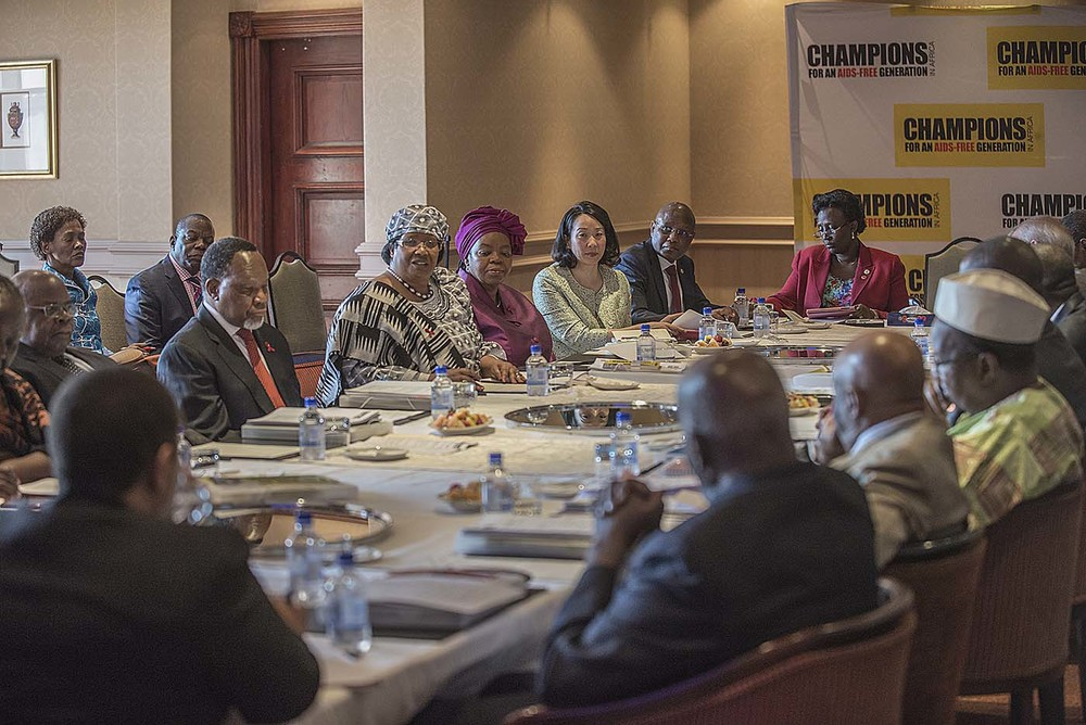 The Champions and partners, including representatives from UNAIDS, ECOWAS, SADC and the private sector at the board meeting of the Champions.