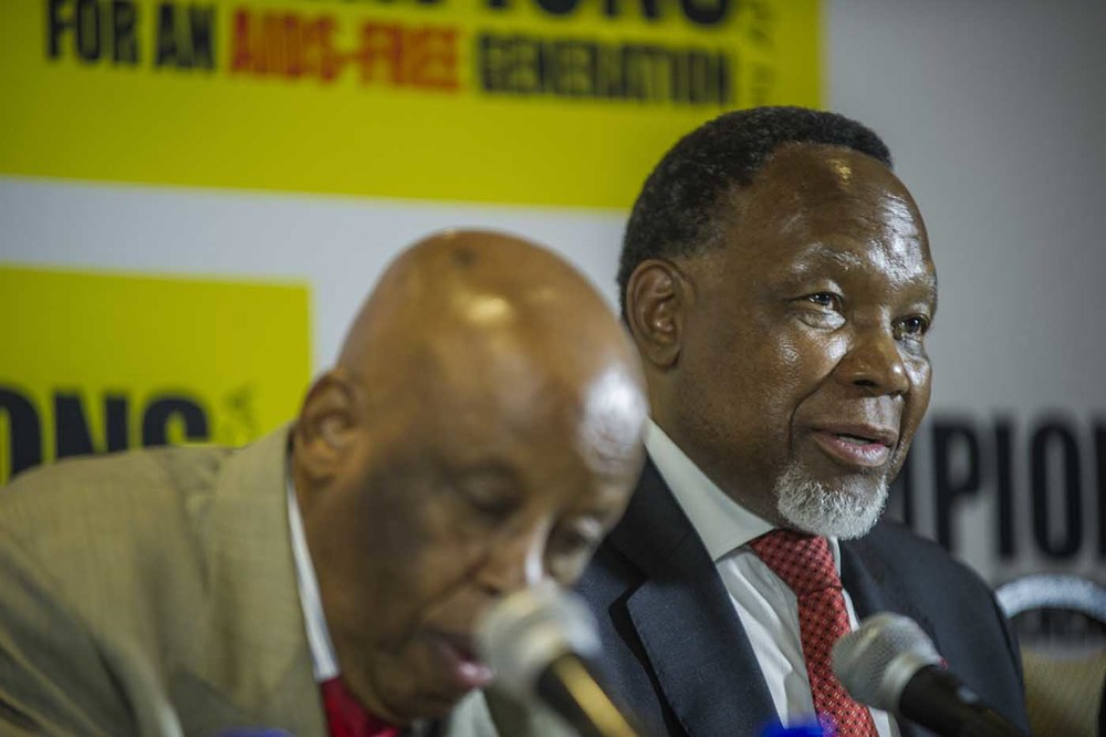 Former South African President, Kgalema Motlanthe, addresses the media.