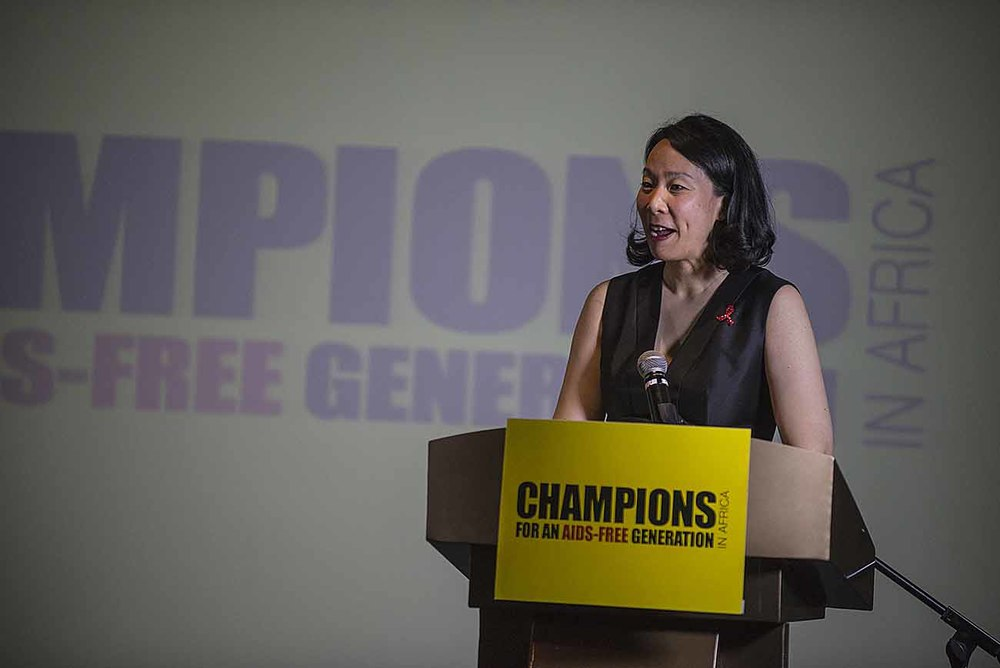 UNAIDS Director of Communications and Global Advocacy, Annemarie Hou, addresses guests at the Champions Gala Dinner.